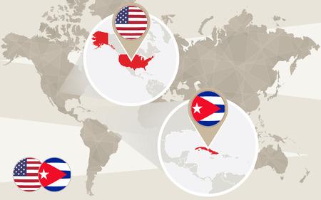 World map zoom on USA, Cuba. Vector Illustration. Illustration