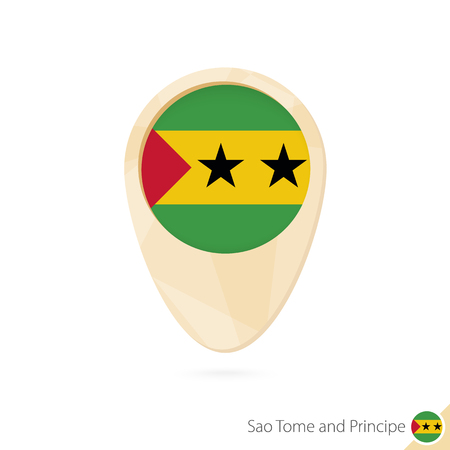 Map pointer with flag of Sao Tome and Principe. Orange abstract map icon. Vector Illustration.