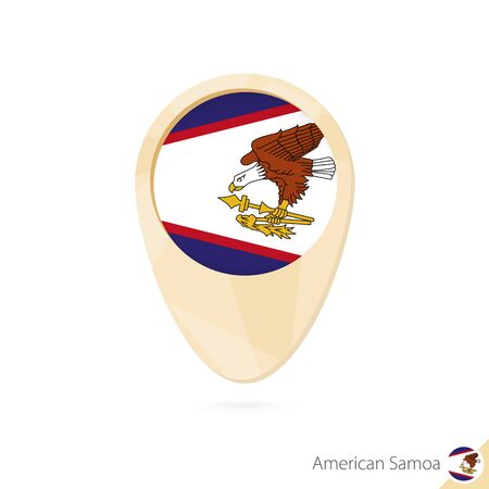 Map pointer with flag of American Samoa. Orange abstract map icon. Vector Illustration. Illustration