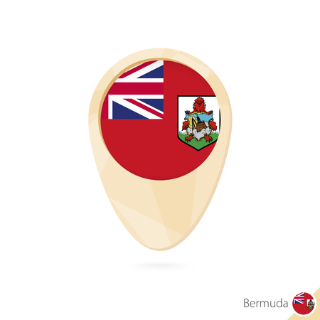 Map pointer with flag of Bermuda. Orange abstract map icon. Vector Illustration.