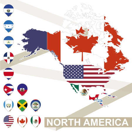 North America map with flags, North America map colored in with their flag. Vector Illustration. Illustration