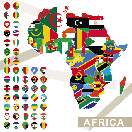 Africa map with flags, Africa map colored in with their flag. Vector Illustration.