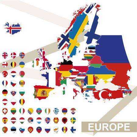 czech switzerland: Europa mappa con le bandiere, l'Europa mappa colorata con la loro bandiera. Illustrazione vettoriale.