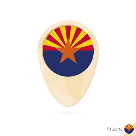 Map pointer with flag of Arizona. Orange abstract map icon. Vector Illustration.
