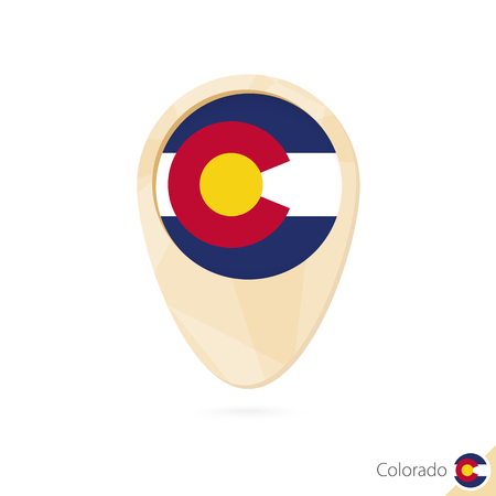 Map pointer with flag of Colorado. Orange abstract map icon. Vector Illustration.