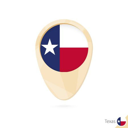 Map pointer with flag of Texas. Orange abstract map icon. Vector Illustration.