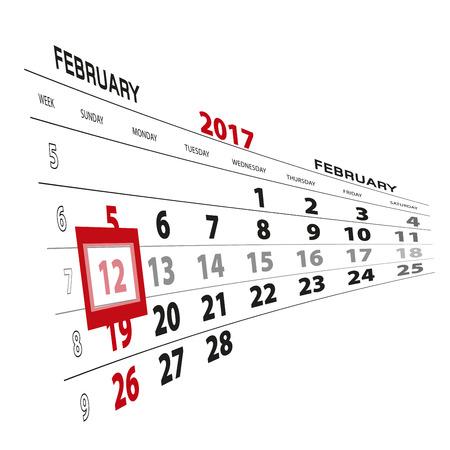 mon 12: February 12, highlighted on 2017 calendar. Vector Illustration. Illustration
