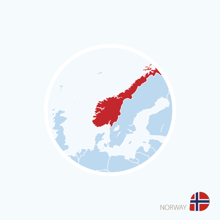 Map icon of Norway. Blue map of Europe with highlighted Norway in red color. Vector Illustration.