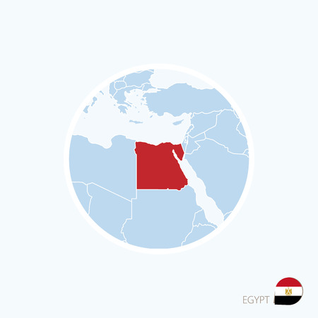 Map icon of Egypt. Blue map of Europe with highlighted Egypt in red color. Vector Illustration.