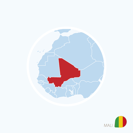 Map icon of Mali. Blue map of Europe with highlighted Mali in red color. Vector Illustration.