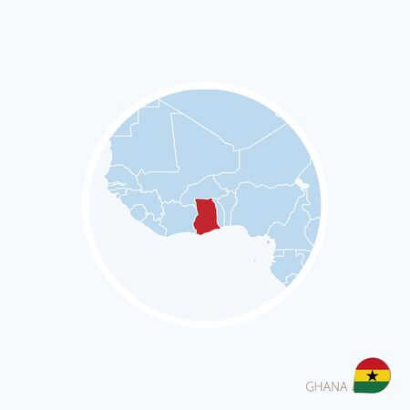 Map icon of Ghana. Blue map of Africa with highlighted Ghana in red color. Vector Illustration.