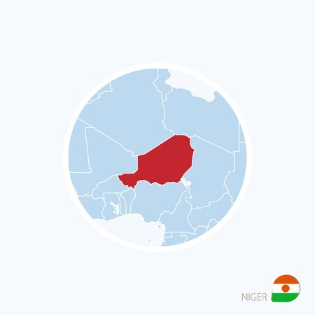 ner: Map icon of Niger. Blue map of Africa with highlighted Niger in red color. Vector Illustration.