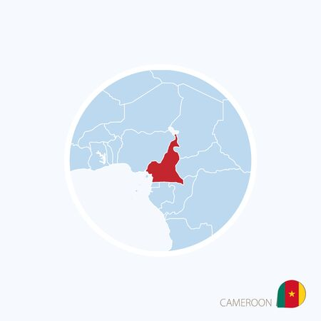 Cameroon map stock photos royalty free business images map icon of cameroon blue map of central africa with highlighted cameroon in red color ccuart Choice Image