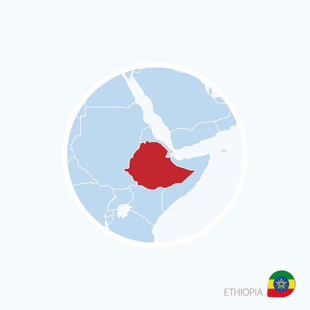 Map icon of Ethiopia. Blue map of Africa with highlighted Ethiopia in red color. Vector Illustration. Illustration