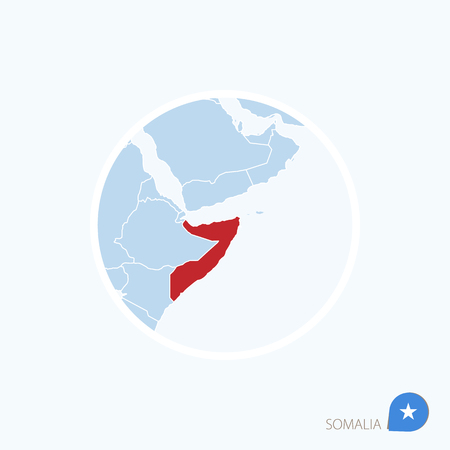 Map icon of Somalia. Blue map of Africa with highlighted Somalia in red color. Vector Illustration. Illustration