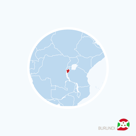 Map icon of Burundi. Blue map of Africa with highlighted Burundi in red color. Vector Illustration. Illustration