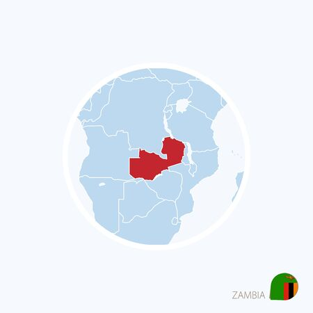 Map icon of Zambia. Blue map of Africa with highlighted Zambia in red color. Vector Illustration.