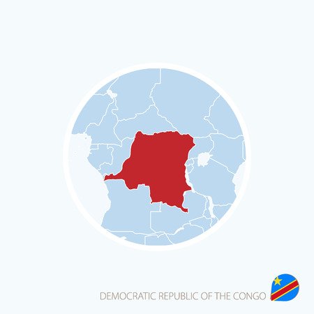 Map icon of Democratic Republic of the Congo. Blue map of Central Africa with highlighted DR Congo in red color. Vector Illustration.