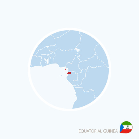 Map icon of Equatorial Guinea. Blue map of Africa with highlighted Equatorial Guinea in red color. Vector Illustration. Illustration