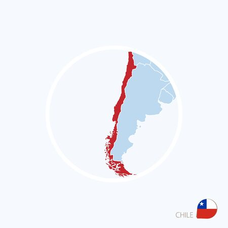 Map icon of Chile. Blue map of America with highlighted Chile in red color. Vector Illustration.