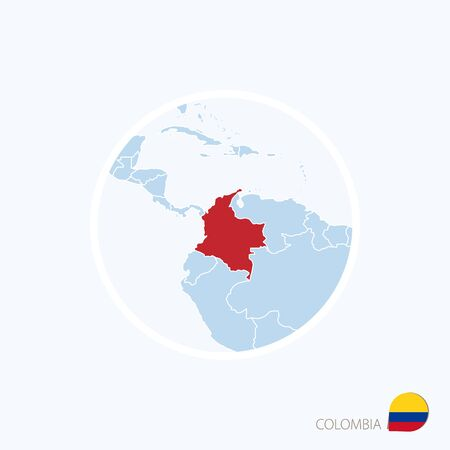 Map icon of Colombia. Blue map of Europe with highlighted Colombia in red color. Vector Illustration.