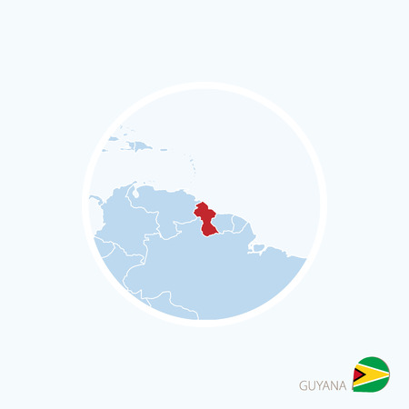 Map icon of Guyana. Blue map of South America with highlighted Guyana in red color. Vector Illustration.