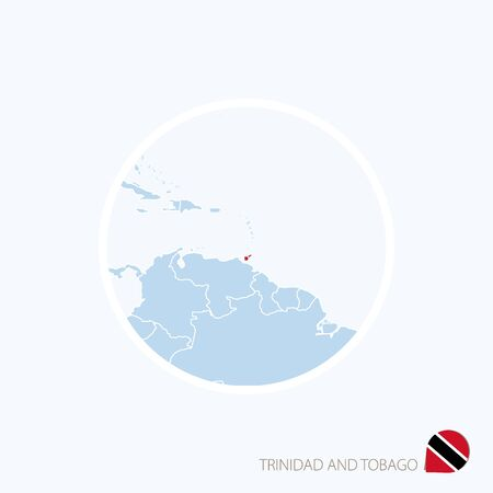 port of spain: Map icon of Trinidad and Tobago. Blue map of Caribbean with highlighted Trinidad and Tobago in red color. Vector Illustration. Illustration