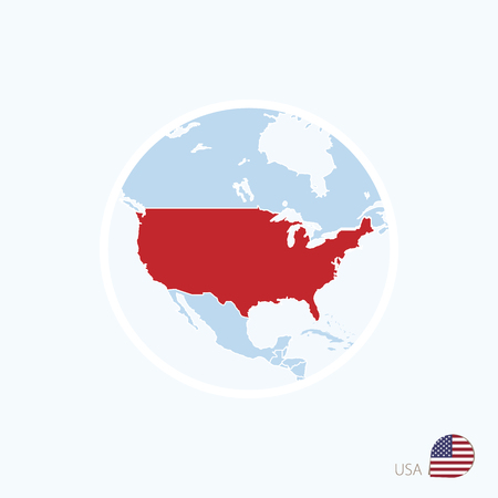 Map icon of USA. Blue map of North America with highlighted United States of America in red color. Vector Illustration. Çizim