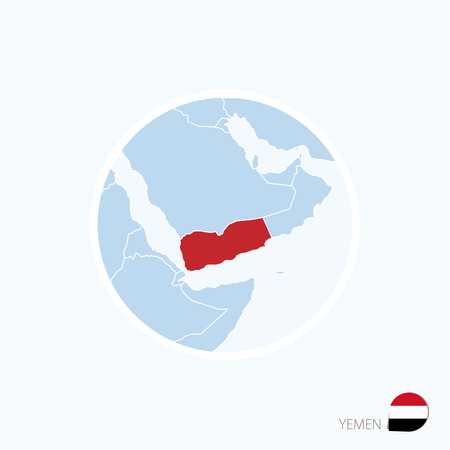 yemen: Map icon of Yemen. Blue map of Middle East with highlighted Yemen in red color.