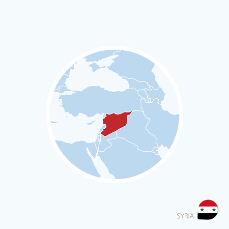 Map icon of Syria. Blue map of Middle East with highlighted Syria in red color. Vector Illustration.
