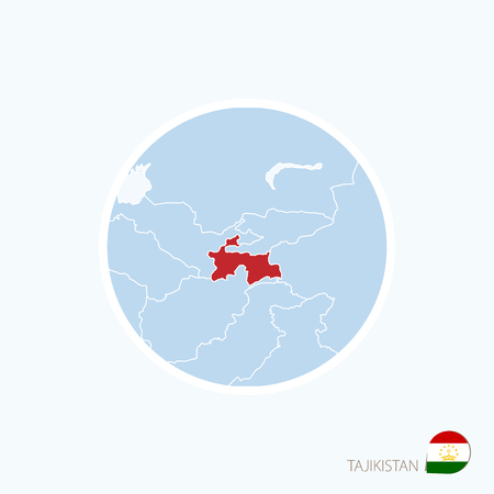 Map Icon Of Tajikistan Blue Map Of Asia With Highlighted - Tajikistan map vector
