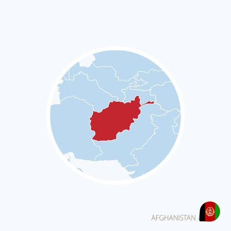 Map icon of Afghanistan. Blue map of South Asia with highlighted Afghanistan in red color. Vector Illustration.