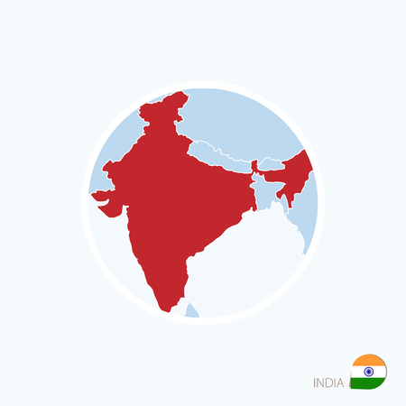 Map icon of India. Blue map of South Asia with highlighted India in red color. Vector Illustration.