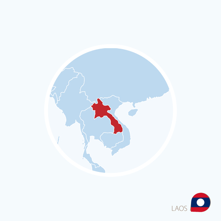 Map icon of Laos. Blue map of Southeast Asia with highlighted Laos in red color. Vector Illustration.