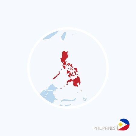 Map icon of Philippines Blue map of Asia with highlighted Philippines in red color. Vector Illustration.