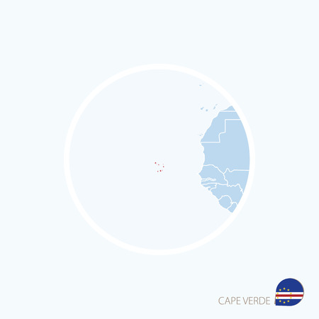 praia: Map icon of Cape Verde. Blue map of Africa with highlighted Cape Verde in red color. Vector Illustration. Illustration
