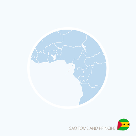 principe: Map icon of Sao Tome and Principe. Blue map of Central Africa with highlighted Sao Tome and Principe in red color. Vector Illustration.