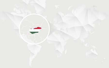 regions: Hungary map with flag in contour on white polygonal World Map. Vector Illustration. Illustration