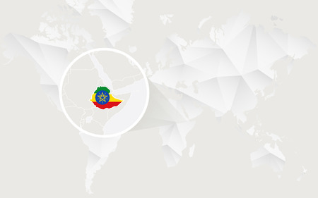 Ethiopia map with flag in contour on white polygonal World Map. Vector Illustration.