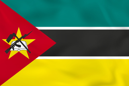 Mozambique waving flag. Mozambique national flag background texture. Vector illustration. Illustration