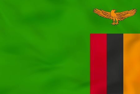 Zambia waving flag. Zambia national flag background texture. Vector illustration. Illustration