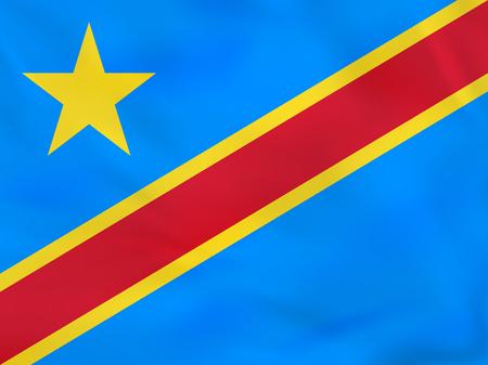 DR Congo waving flag. DRC national flag background texture. Vector illustration.