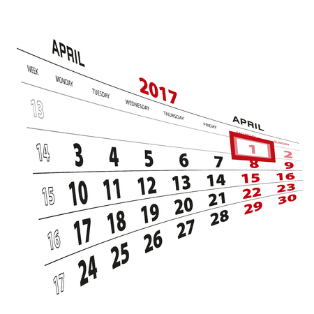 1 April highlighted on calendar 2017. Week starts from Monday. Vector Illustration.