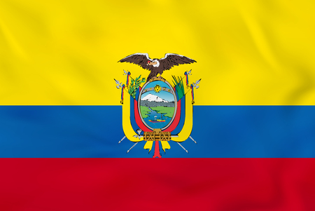 Ecuador waving flag. Ecuador national flag background texture. Vector illustration. Vector Illustration