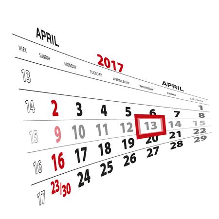 April 13, highlighted on 2017 calendar. Vector Illustration.