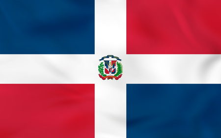 Dominican Republic waving flag. Dominican Republic national flag background texture. Vector illustration.