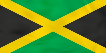kingston: Jamaica waving flag. Jamaica national flag background texture. Vector illustration.