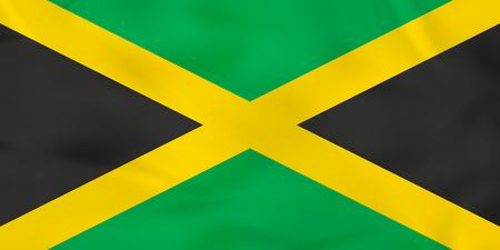 Jamaica waving flag. Jamaica national flag background texture. Vector illustration.