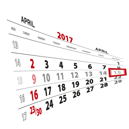 thursday: April 15, highlighted on 2017 calendar. Vector Illustration.