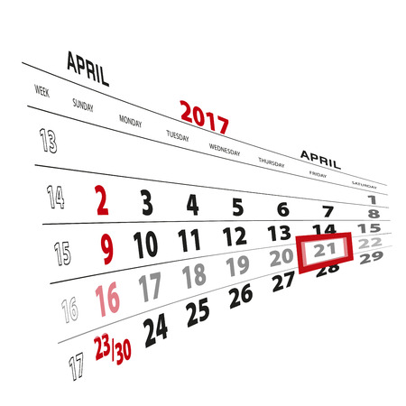 thursday: April 21, highlighted on 2017 calendar. Vector Illustration.